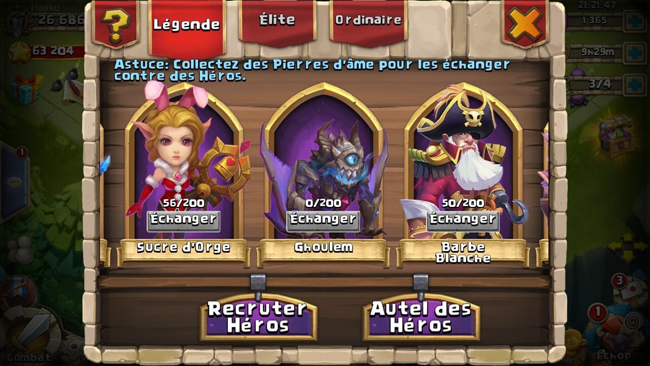 inventaire héros castle clash